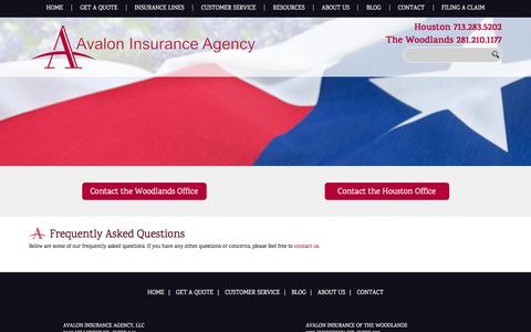 Screenshot of FAQ Page avaloninsuranceagency.com - Frequently Asked Questions - Avalon Insurance Agency - captured July 31, 2018