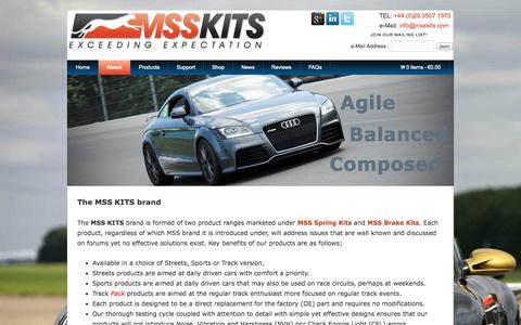Screenshot of About Page msskits.com - About MSS KITS - MSS KITS - captured Oct. 3, 2014