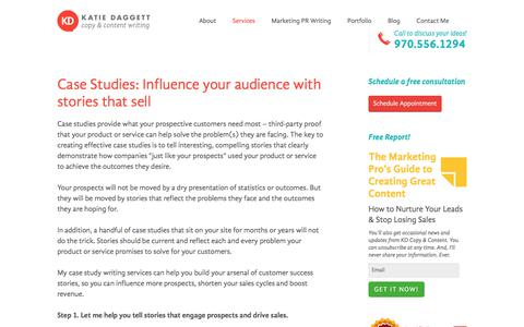 Screenshot of Case Studies Page kdcopyandcontent.com - Case Studies: Influence your audience with stories that sell | KD Copy & Content Writing - captured Oct. 16, 2017