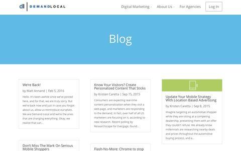 Screenshot of Blog demandlocal.com - Demand Local, Inc | Blog - captured Feb. 9, 2016