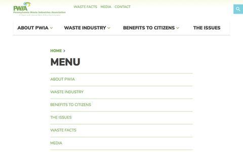 Screenshot of Menu Page pawasteindustries.org - Menu — Pennsylvania Waste Industries Association - captured Feb. 2, 2018