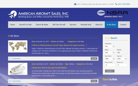 Screenshot of Press Page americanaircraftsales.com - In the News - captured Feb. 6, 2016