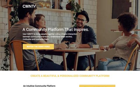 Screenshot of Landing Page cmnty.com - Community Platform that Inspires Interaction - captured April 13, 2018