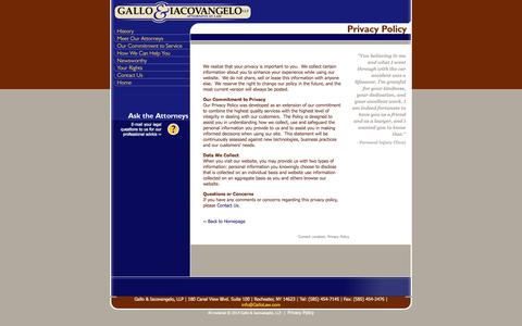 Screenshot of Privacy Page gallolaw.com - Gallo and Iacovangelo, Attorneys at Law, Rochester and Western New York - Privacy Policy - captured Oct. 2, 2014
