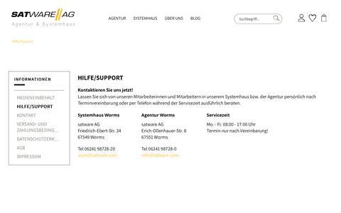 Screenshot of Support Page satware.com - Hilfe/Support | satware AG - captured Oct. 19, 2018
