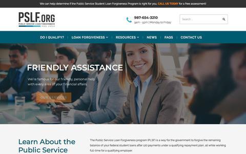 Screenshot of Home Page pslf.org - Public Service Loan Forgiveness   Forgive Student Loans - captured June 11, 2018