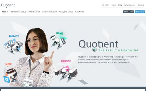 Screenshot of Home Page quotient.com - Our Story | Quotient Technology Inc. - captured Feb. 15, 2019