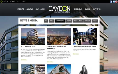 Screenshot of Press Page caydon.com.au - Caydon News & Media - Property Developers, Melbourne - captured Oct. 2, 2014