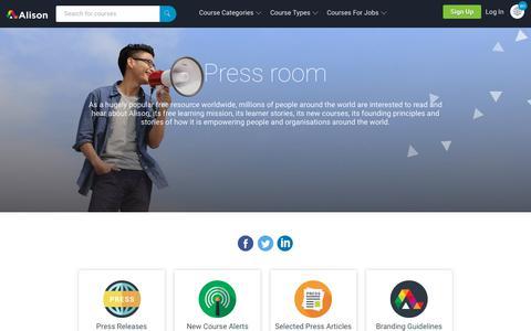 Screenshot of Press Page alison.com - Alison Press Room: Press Releases & Articles, New Courses | Alison - captured June 15, 2019