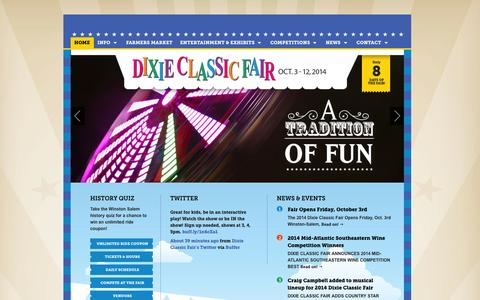 Screenshot of Home Page Menu Page dcfair.com - The Dixie Classic Fair Home Page - captured Oct. 5, 2014