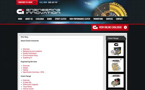 Screenshot of Site Map Page clutchindustries.com.au - Clutch Range | Clutch Industries - Australia's Leading Clutch Manufacturer - captured Sept. 30, 2014