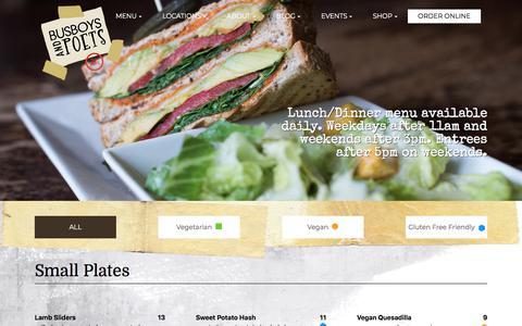 Screenshot of Menu Page busboysandpoets.com - Lunch & Dinner Menu | Busboys and Poets - captured Nov. 11, 2019