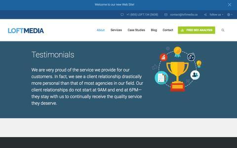 Screenshot of Testimonials Page loftmedia.ca - Section: Testimonials - Website Design Company, Digital Marketing Agency - captured Jan. 31, 2016