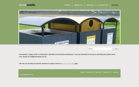 Screenshot of Jobs Page knowwaste.com.au - Careers - Knowwaste - captured Oct. 6, 2014