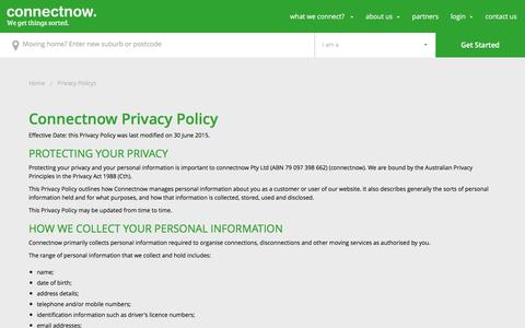 Screenshot of Privacy Page connectnow.com.au - connectnow | PrivacyPolicy - captured May 20, 2017