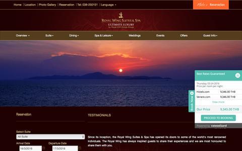 Screenshot of Testimonials Page royalwingsuites.com - Pattaya Hotel Reviews and Testimonials - Real Reviews Real Customers - captured March 16, 2016