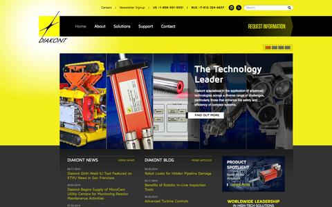 Screenshot of Home Page diakont.com - High-Tech Solutions that enhance the safety and economy of the energy, pipeline, and manufacturing industries - captured Sept. 30, 2014