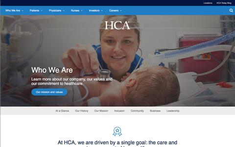Screenshot of About Page hcahealthcare.com - Who We Are | HCA Healthcare - captured June 22, 2016