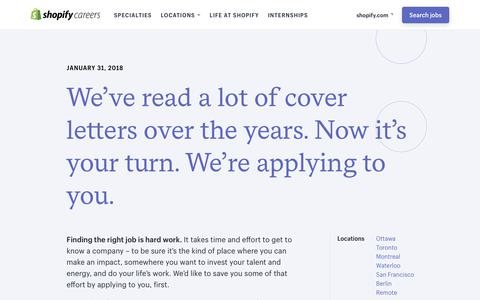 Screenshot of Jobs Page shopify.com - Careers | Shopify - captured Jan. 31, 2018