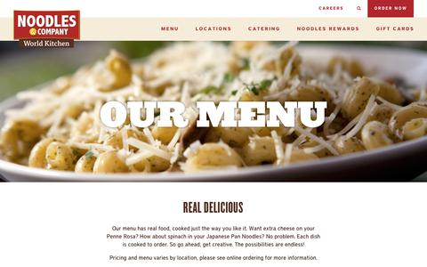Screenshot of Menu Page noodles.com - Noodles & Company Menu - Noodles, Pasta, Salads & More - captured Jan. 9, 2018