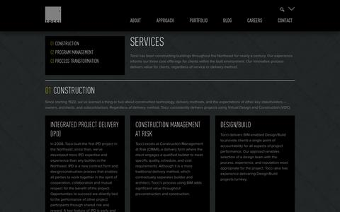 Screenshot of Services Page tocci.com - Services - Tocci Building Companies - captured Oct. 1, 2014