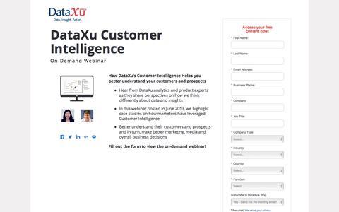 Screenshot of Landing Page dataxu.com - Webinar Replay: Customer Intelligence and analytics - captured June 8, 2017