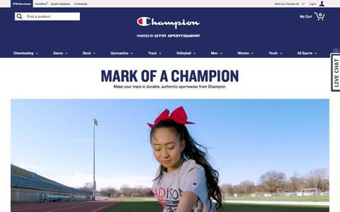 Screenshot of Home Page gtmsportswear.com - Custom Team Uniforms, Personalized Warmups, Apparel & Accessories | Champion by GTM Sportswear - captured Jan. 20, 2018