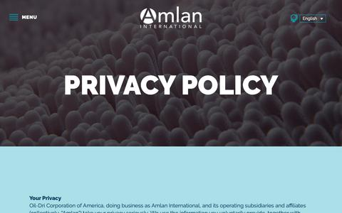 Screenshot of Privacy Page amlan.com - Privacy Policy - Amlan International - captured Oct. 3, 2018