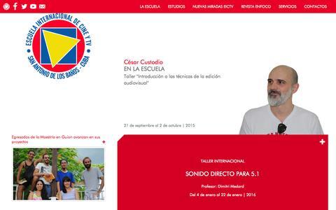 Screenshot of Home Page eictv.org - Inicio - Escuela Internacional de Cine y Televisión - captured Oct. 19, 2015