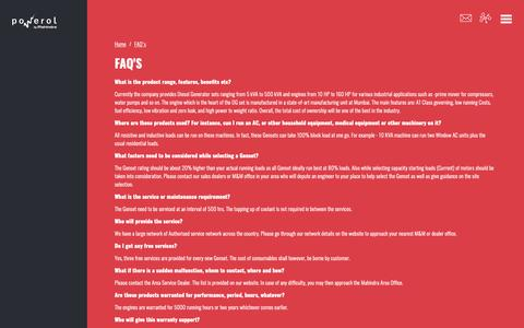 Screenshot of FAQ Page mahindrapowerol.com - MAHINDRA POWEROL ABOUT POWEROL - captured Nov. 5, 2018