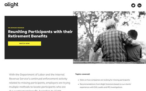 Screenshot of Landing Page alight.com - Reuniting Participants with their Benefits | Alight Solutions - captured May 31, 2018