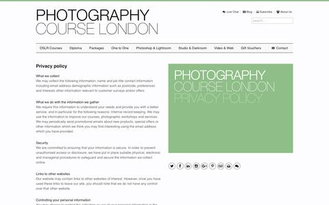 Screenshot of Privacy Page photographycourselondon.com - Privacy Policy | Photography Course London - captured July 13, 2016