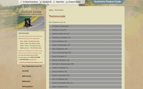 Screenshot of Testimonials Page amishoutletstore.com - Testimonials | Amish Outlet Store - captured July 25, 2016