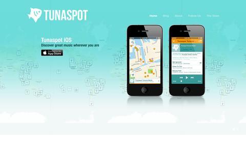 Screenshot of Home Page tunaspot.com - Tunaspot - captured Sept. 13, 2014