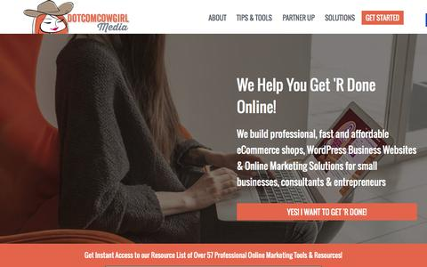 Screenshot of Home Page dotcomcowgirl.com - DotcomCowgirl Media - Professional, Fast & Affordable Online Marketing Solutions - captured Jan. 24, 2015