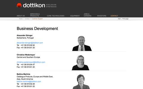Screenshot of Support Page dottikon.com - Customer Support - captured Oct. 12, 2017