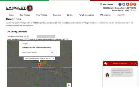 Screenshot of Maps & Directions Page langleyfiat.com - Directions to Langley Fiat | Fiat & Used Car Dealer Surrey, BC - captured Nov. 4, 2018