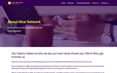 Screenshot of About Page nicenetwork.uk - About Us - Nice Network. Simply Better - captured Oct. 31, 2018