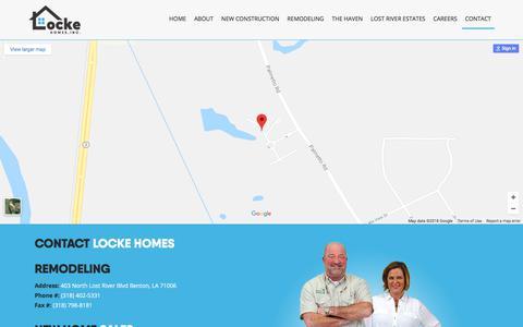 Screenshot of Contact Page lockehomesinc.com - contact - captured July 22, 2018