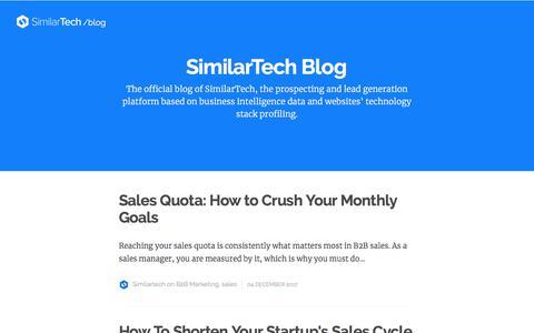 Screenshot of Blog similartech.com - SimilarTech Blog - captured Dec. 11, 2017
