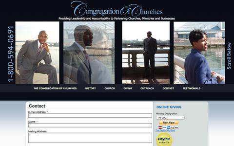 Screenshot of Contact Page congregationofchurches.org - Contact - captured Nov. 1, 2014