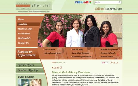 Screenshot of About Page essentialbrownsville.com - Facial Treatment Brownsville, Stretch Mark Removal TX, Scar Treatment Harlingen - captured Oct. 2, 2014