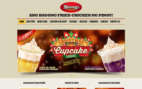 Screenshot of Home Page manangschicken.com - Manang's Chicken Crispy fried chicken glazed with Manang's secret sauce, for Franchising and Delivery - captured Dec. 21, 2015