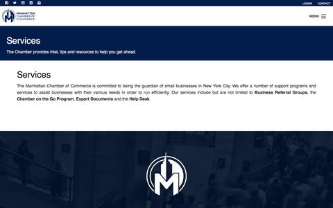 Screenshot of Services Page manhattancc.org - Services  | Manhattan Chamber of Commerce. - captured June 22, 2017