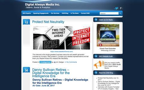 Screenshot of Blog digitalalwaysmedia.com - DAM Blog • Digital Always Media Inc.: Search, Social & Analytics : - captured Oct. 12, 2017