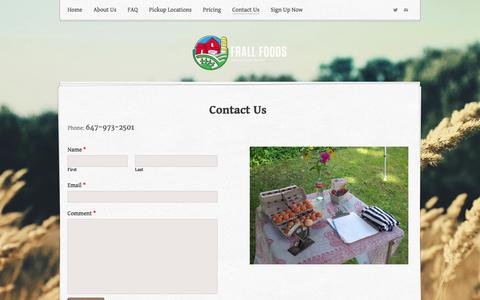 Screenshot of Contact Page weebly.com - Contact Us - Frall Foods - captured Sept. 17, 2014