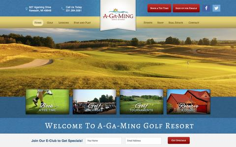 Screenshot of Home Page a-ga-ming.com - A-Ga-Ming Golf Resort - Premier Golf Courses in Northern Michigan | Golf Course near Traverse City & Elk Rapids, MI - captured April 7, 2017