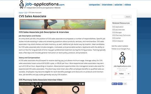 Screenshot of Support Page job-applications.com - CVS Sales Associate - Job Description & Salary - captured Sept. 24, 2014