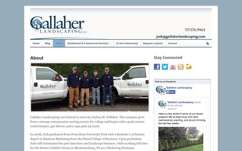 Screenshot of About Page gallaherlandscaping.com - About   Gallaher Landscaping - captured Sept. 30, 2014
