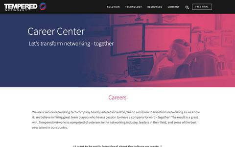 Screenshot of Jobs Page temperednetworks.com - Careers in Network Security | Tempered Networks - captured Nov. 20, 2018